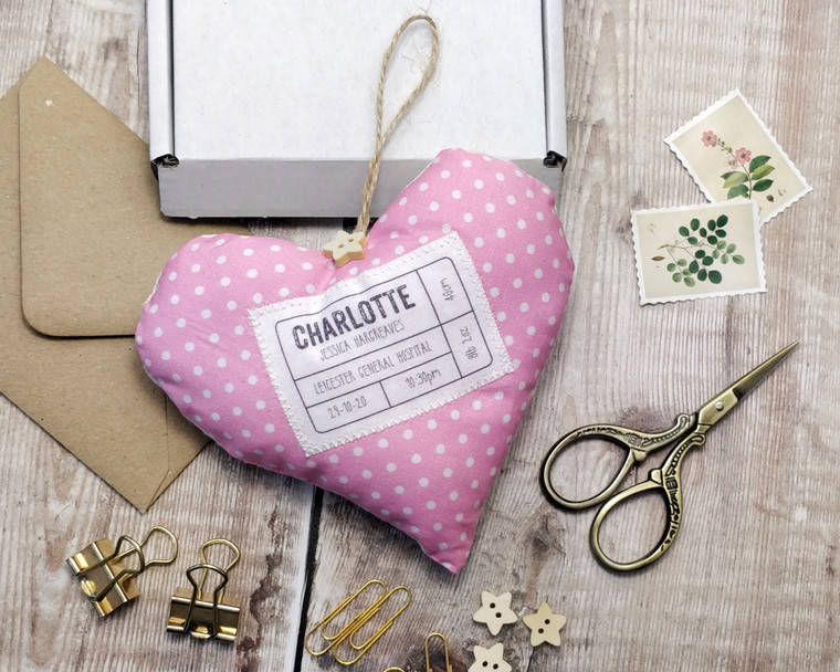 Personalised Fabric Heart New Baby Gift
