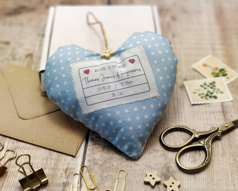 Personalised Fabric Heart New Baby Welcome Gift