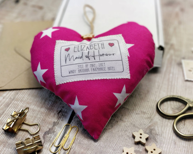 Personalised Fabric Heart Bridesmaid Maid of Honour