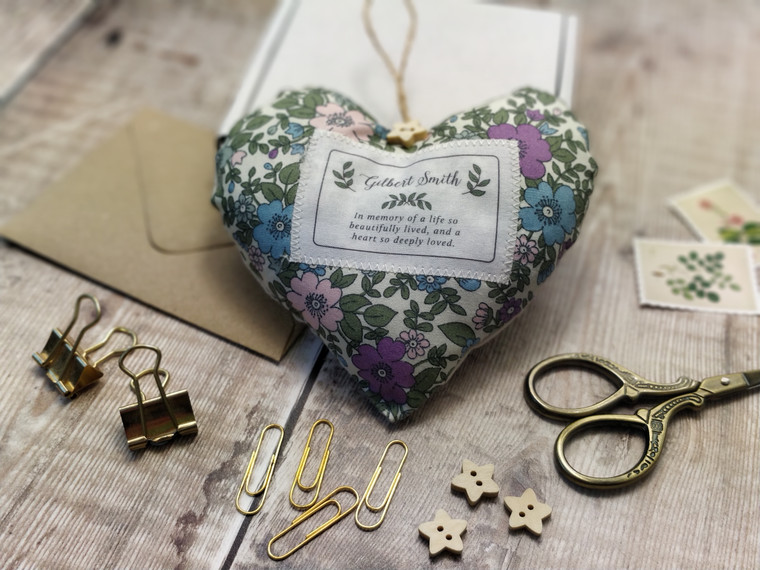 Personalised Fabric Heart In Memory Of, Sympathy Gift