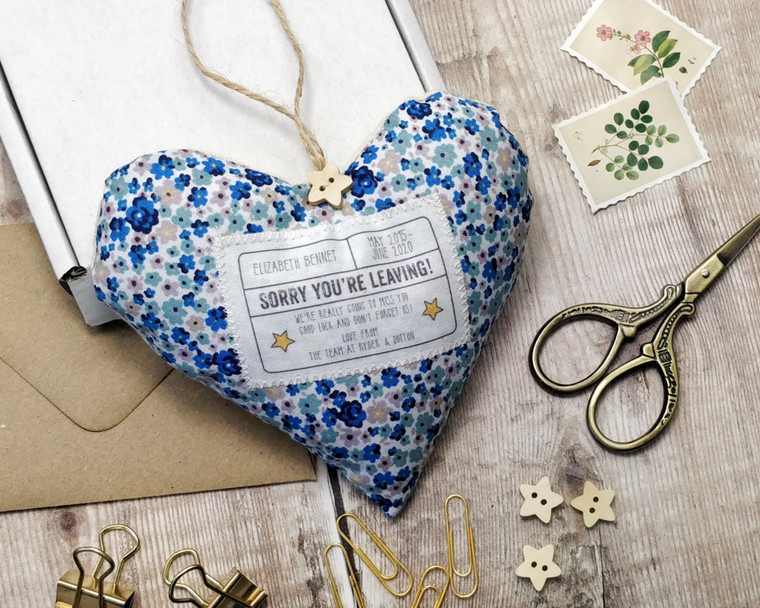 Personalised Fabric Heart New Job, Sorry you're leaving, good luck