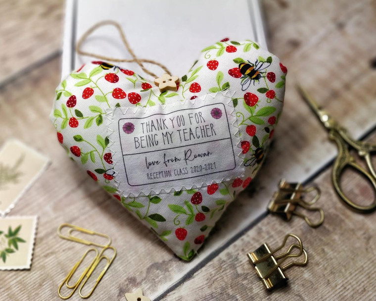 Personalised Fabric Heart Thank You For Being My Teacher