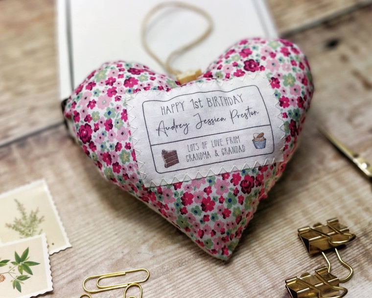 Personalised Fabric Heart, Happy Birthday, Cake