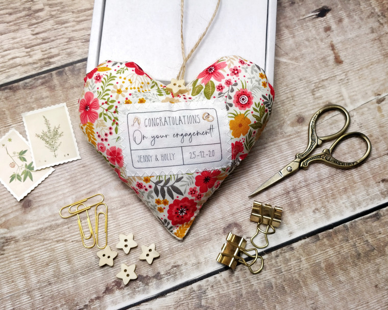 Personalised Fabric Heart, Congratulations, Engagement Gift