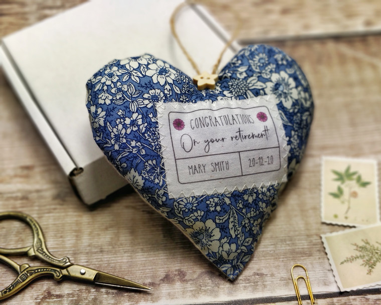 Personalised Fabric Heart, Congratulations on your retirement gift