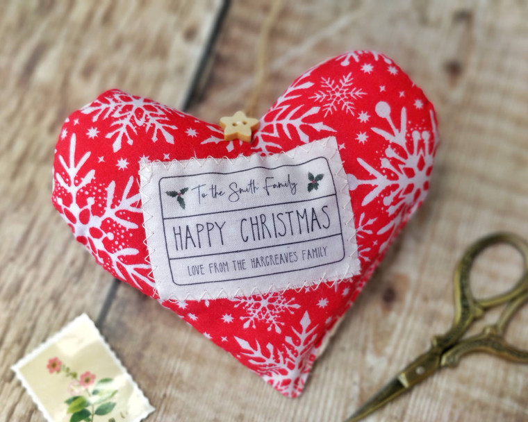 Personalised Fabric Heart, Happy Christmas