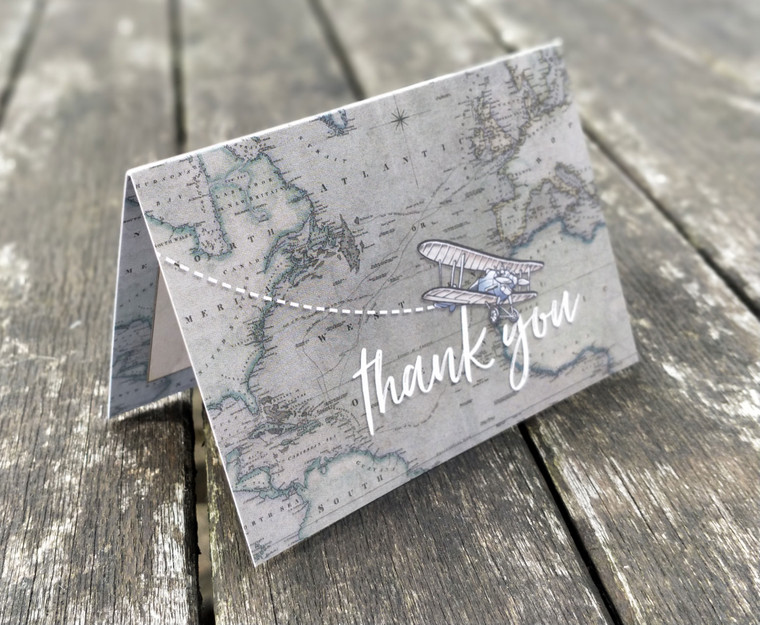 Mini A7 Vintage Travel Folded Thank You Cards & Envelopes