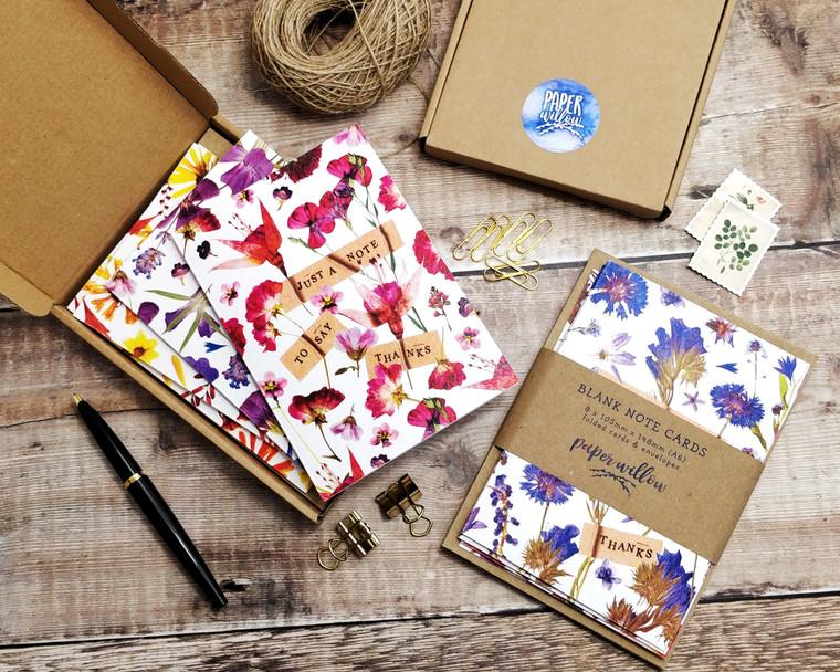 8 x Pressed Flower PRINTED Folded Notecards & Envelopes