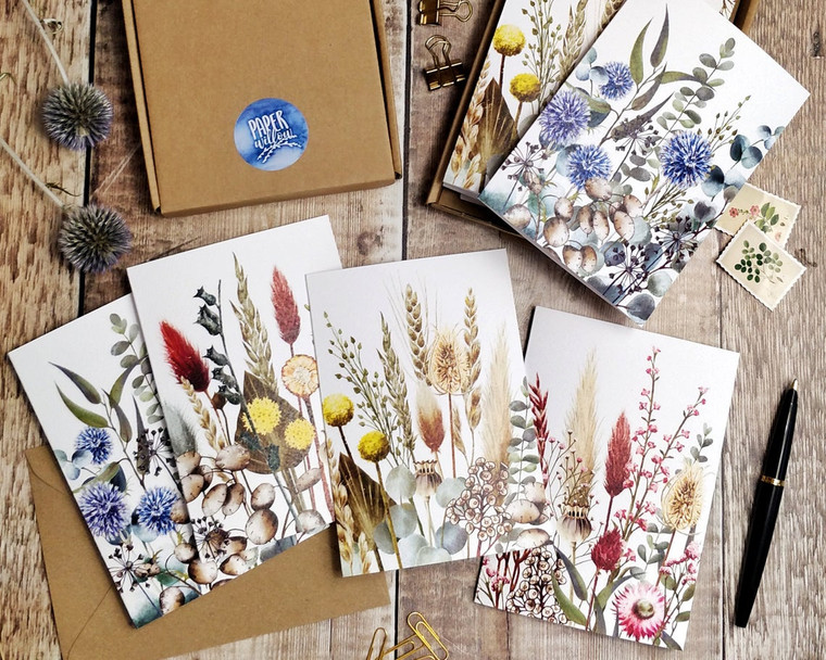 8 x Dried Flower Watercolours Folded Notecards & Envelopes
