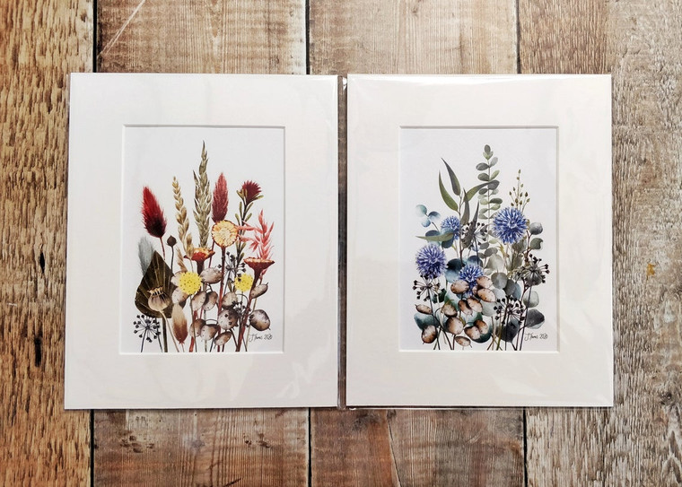 Dried Flower Watercolours Mounted Print