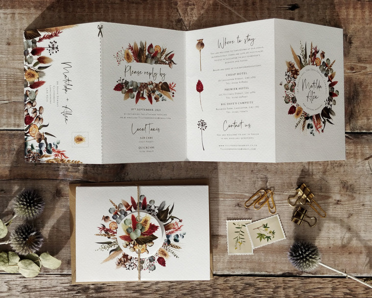 Dried flower themed invitation
