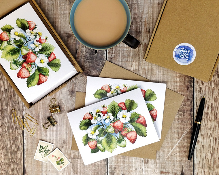 Strawberry Watercolours Folded Notecards & Envelopes