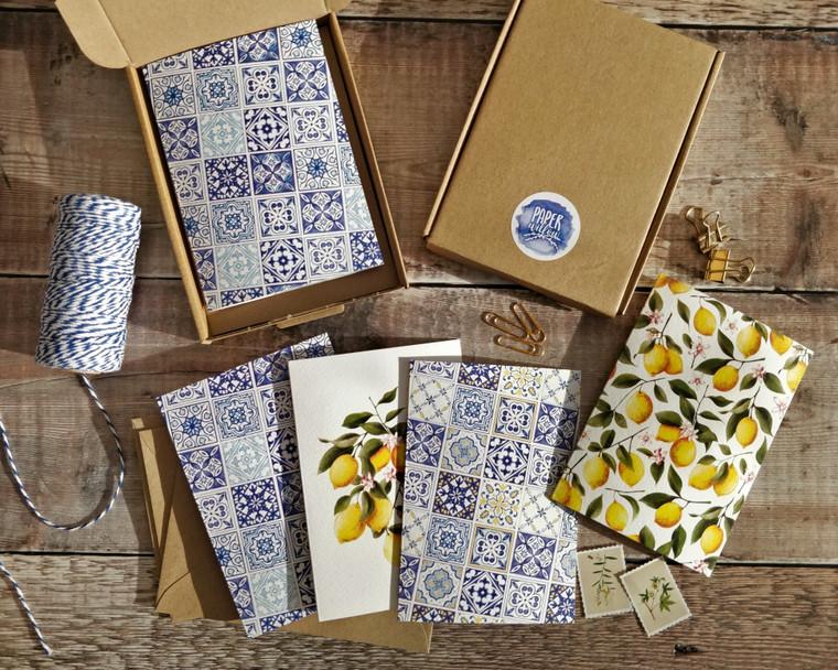 Set of 8 Mediterranean Lemons Folded Notecards & Envelopes