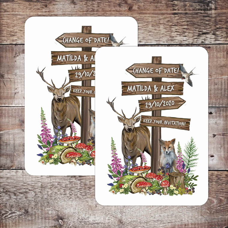Woodland themed Change of Date card