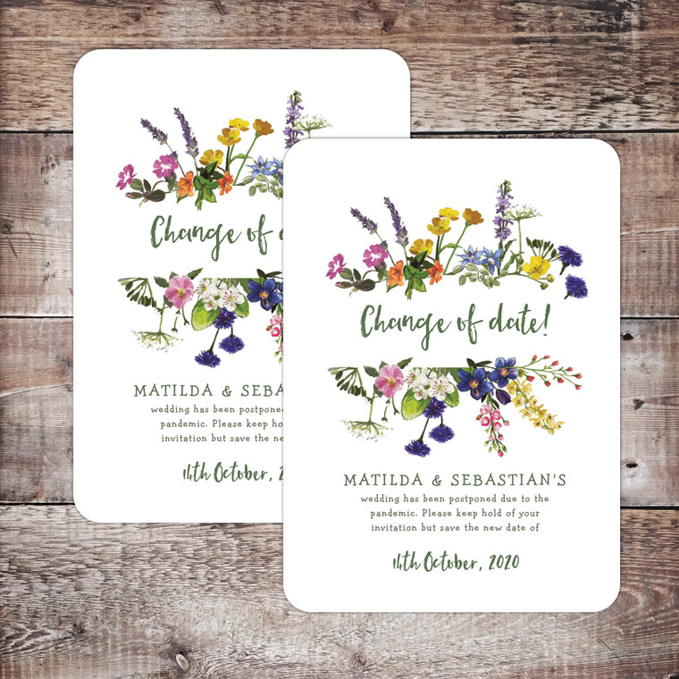 Wildflower themed Change of Date card