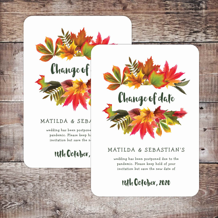 Autumn themed Change of Date card