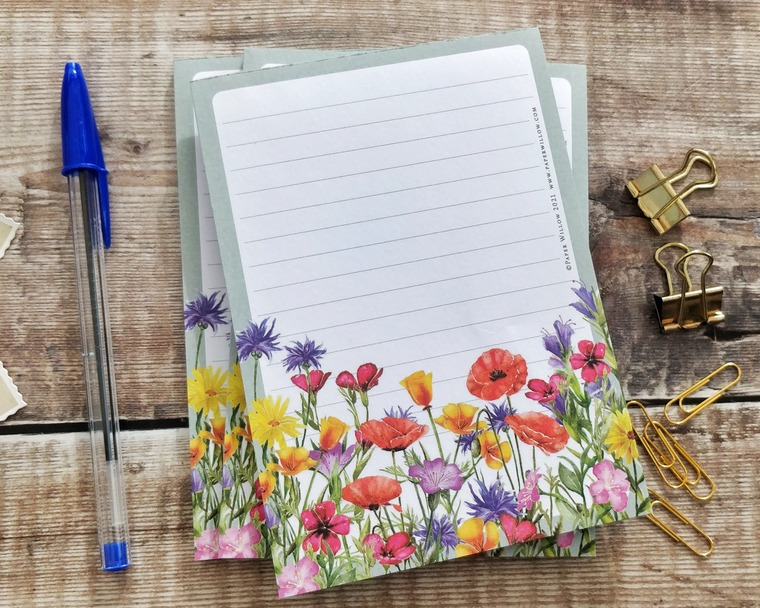A6 Wildflower Watercolours Memo Notepad