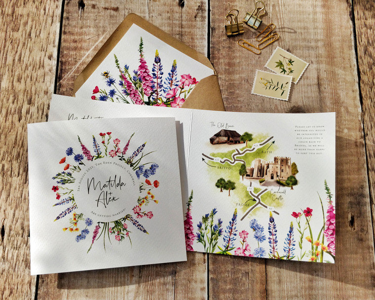 Foxgloves and Lupin Wildflowers Square Folded Invitation