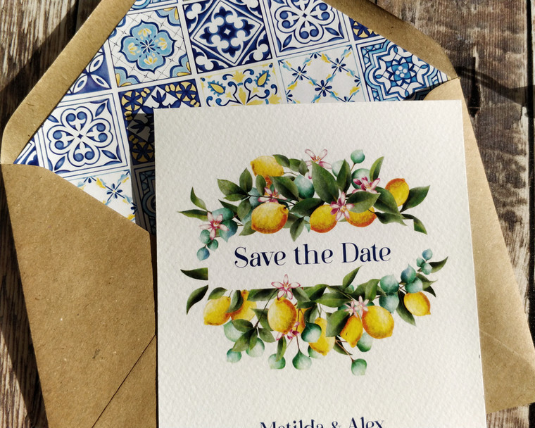 Mediterranean Lemons A6 Save the date card