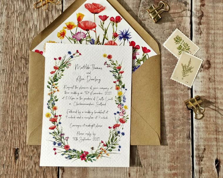 Wildflower Watercolours Oval A6 Invitation Set