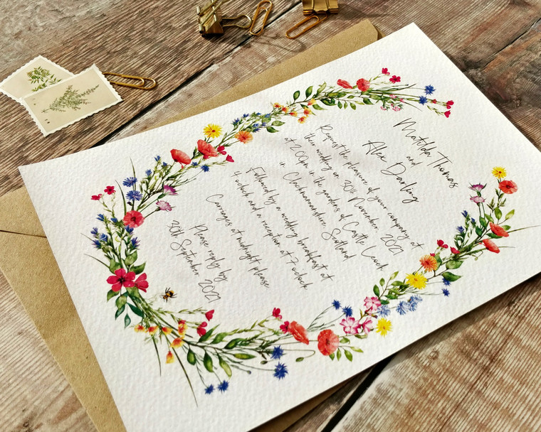 Wildflower Watercolours Oval A5 Invitation Set