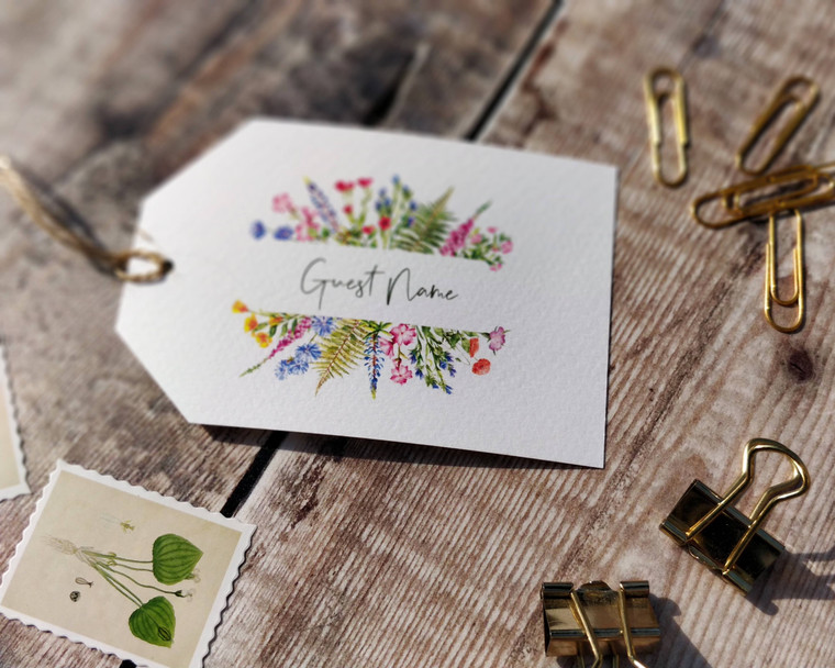 Foxgloves and Lupin Wildflower Luggage Tag Name Cards