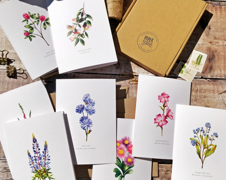 Set of 8 Blue and Pink Wildflower Watercolour Folded Notecards & Envelopes