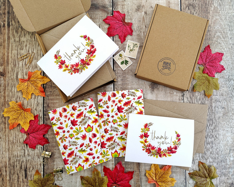 Autumn Leaves pattern  Folded Thank You Cards & Envelopes