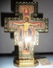 San Damiano Crucifix - 7 inch standing with gold border