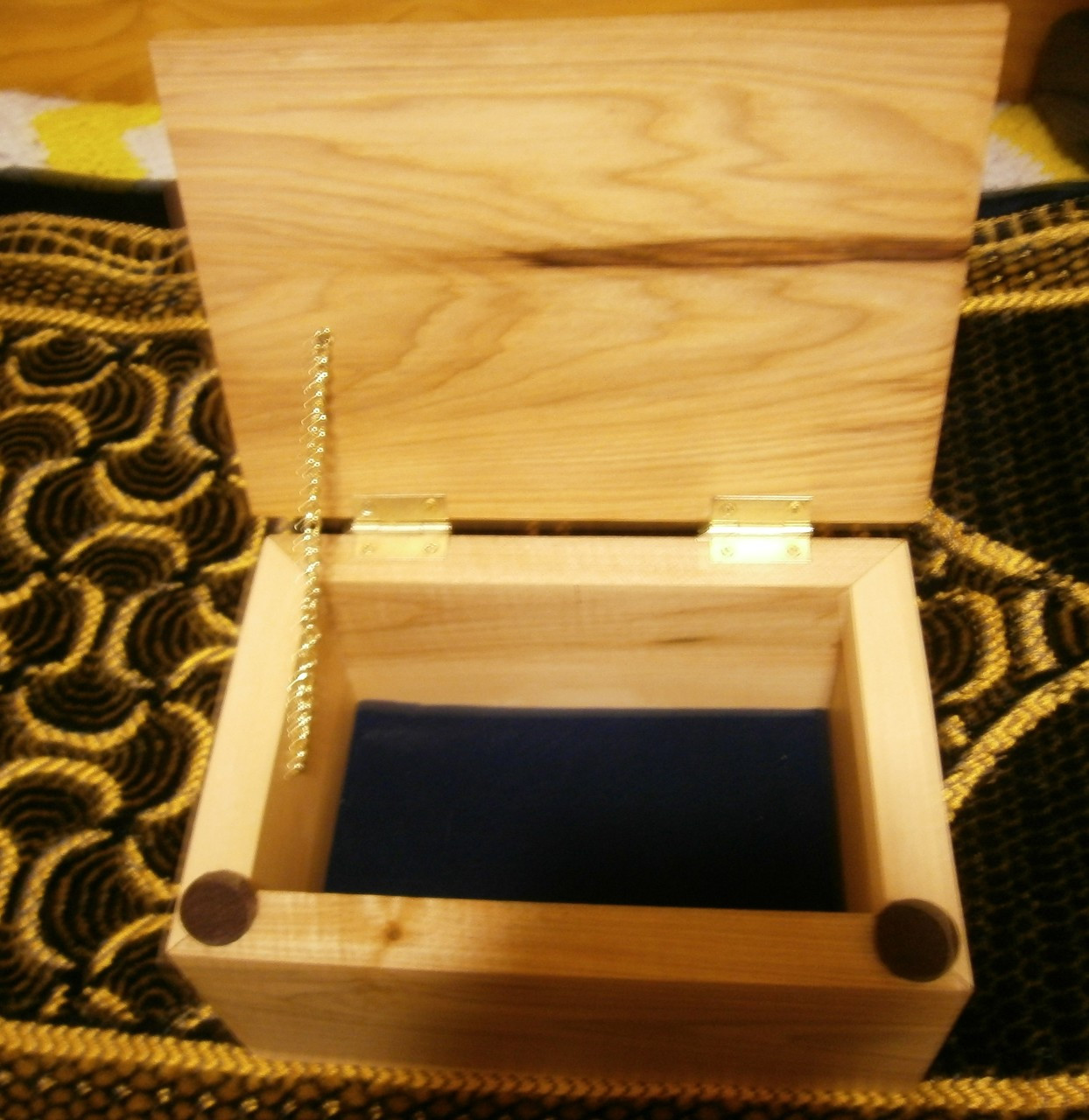 Buy custom, handcrafted, solid wooden box with hinged lid and velvet lining