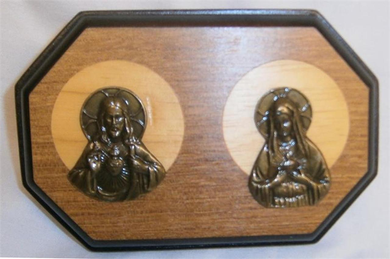 """3.5'x 5.25"""" Jesus & Mary Decorative Wood Plaque"""