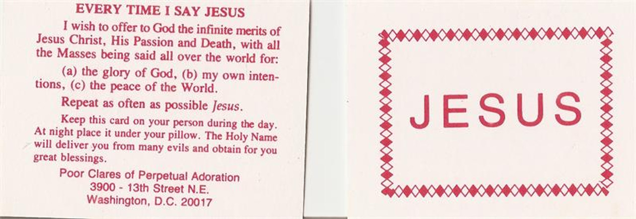 Jesus Name Prayer Card