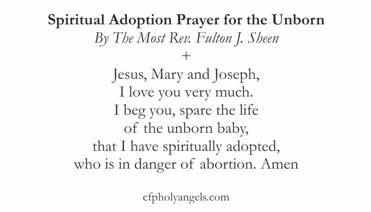 Spiritual Adoption of the Unborn prayer by Fulton Sheen prayer card