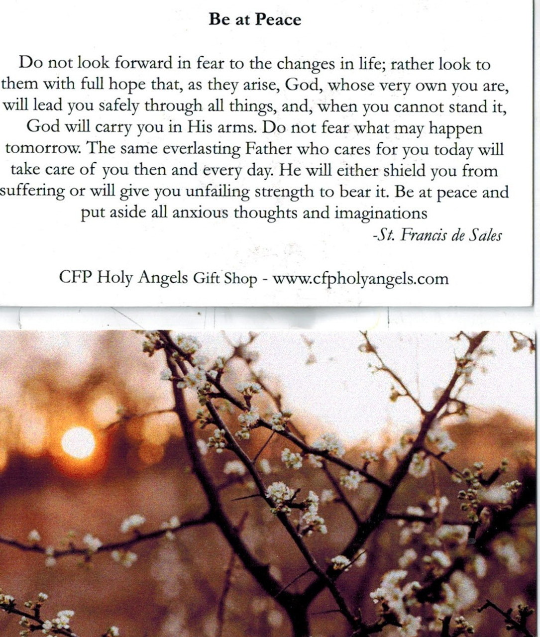Be at Peace Prayer by St. Francis de Sales