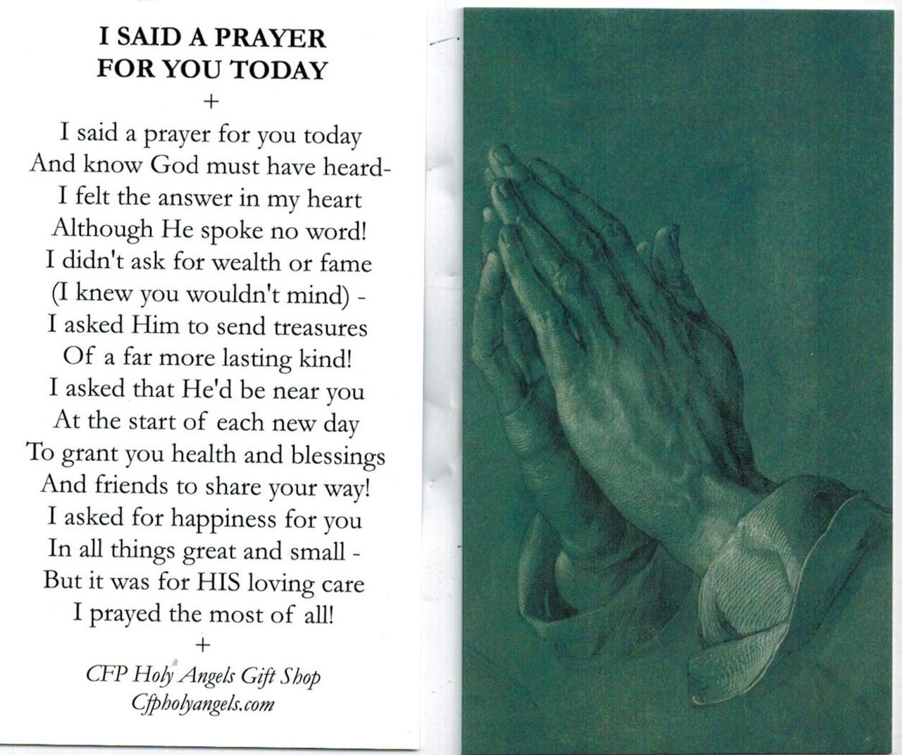 I said a prayer for you today prayer card