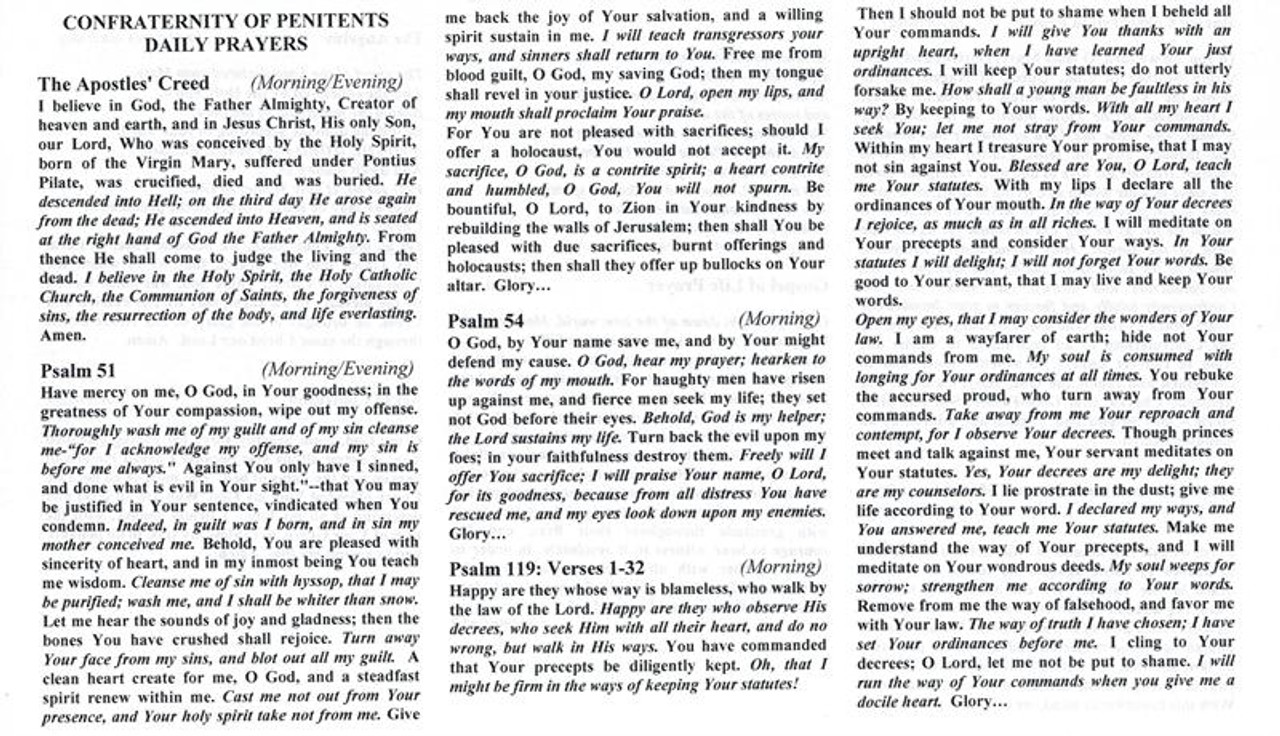 Confraternity of Penitents Daily Prayer Foldout--Standard Font
