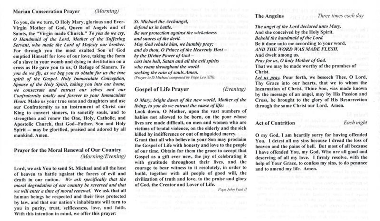 graphic relating to Act of Contrition Prayer Printable known as Confraternity of Penitents Each day Prayer Foldout--Classic Font