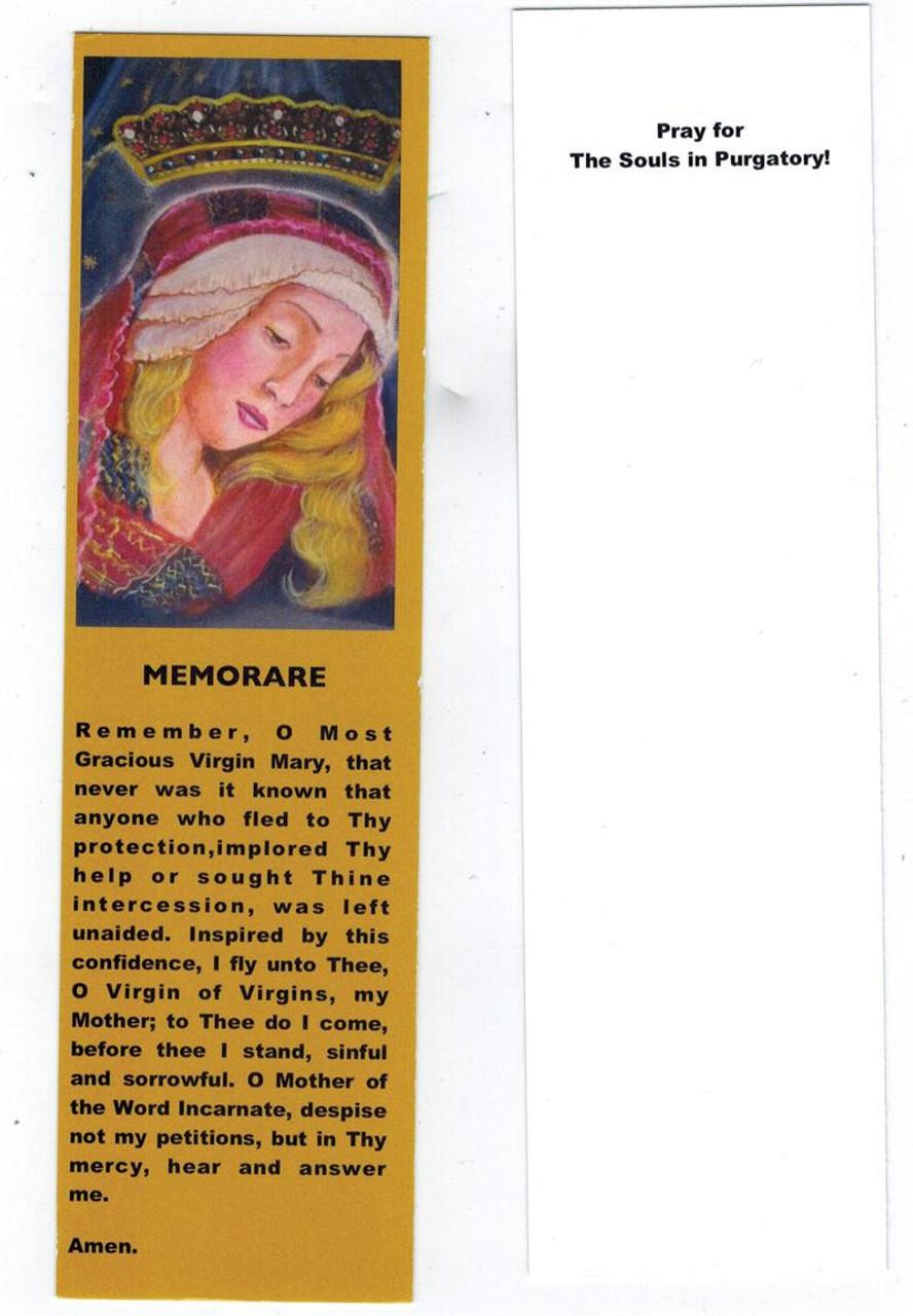 picture regarding Memorare Prayer Printable named Memorare Prayer Card Bookmark within Gold