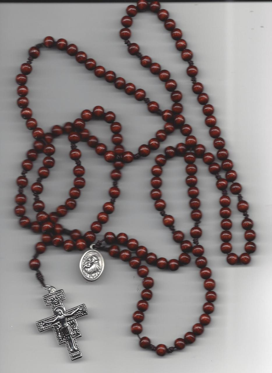 Fifteen Decade Wooden Bead Rosary with San Damiano Crucifix and St. Francis Medal