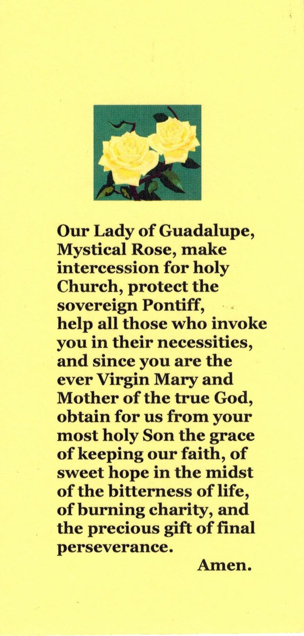 Our Lady of Guadalupe, Mystical Rose Prayer Card