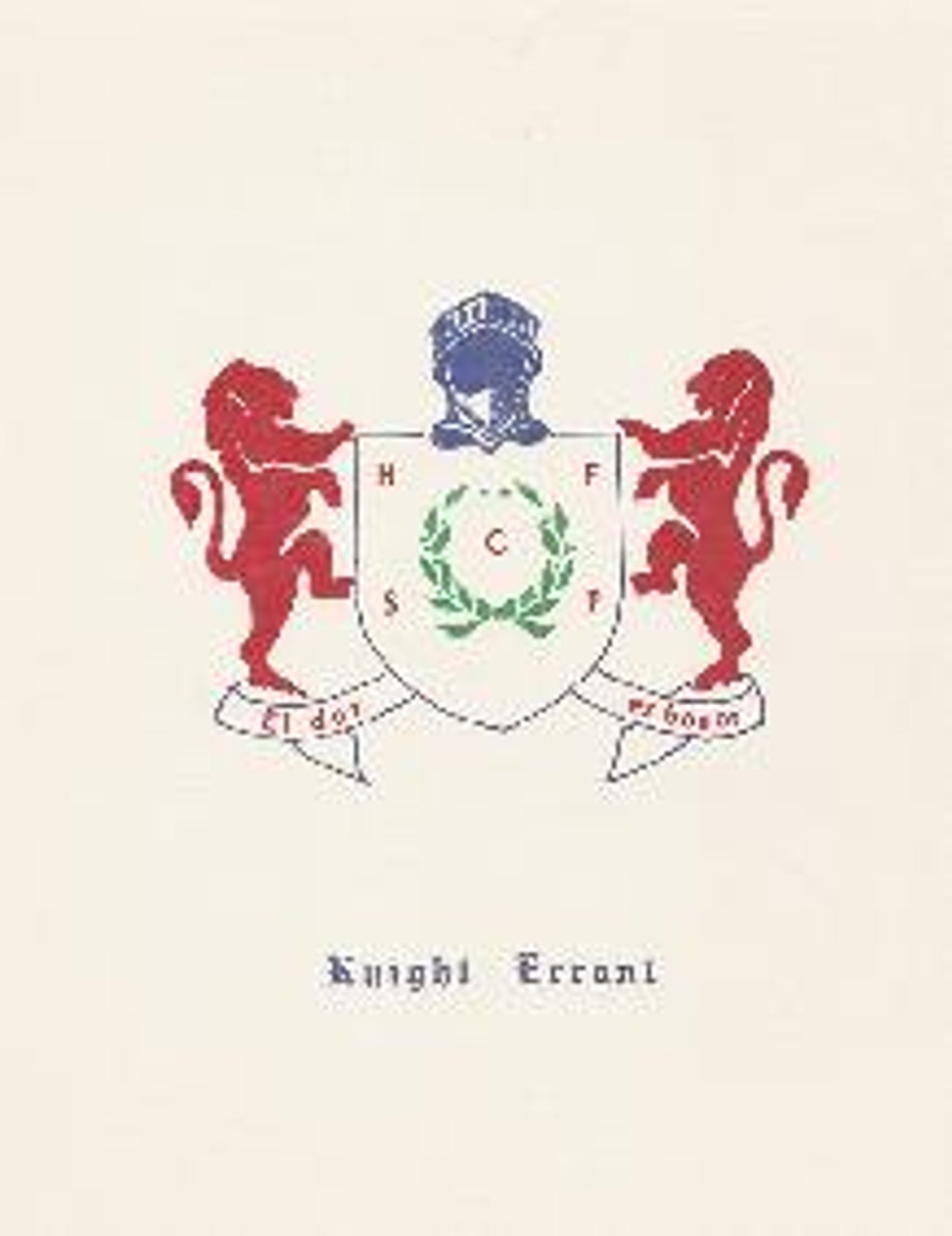 Young Knight Errant Coat of Arms on Card Stock for Framing