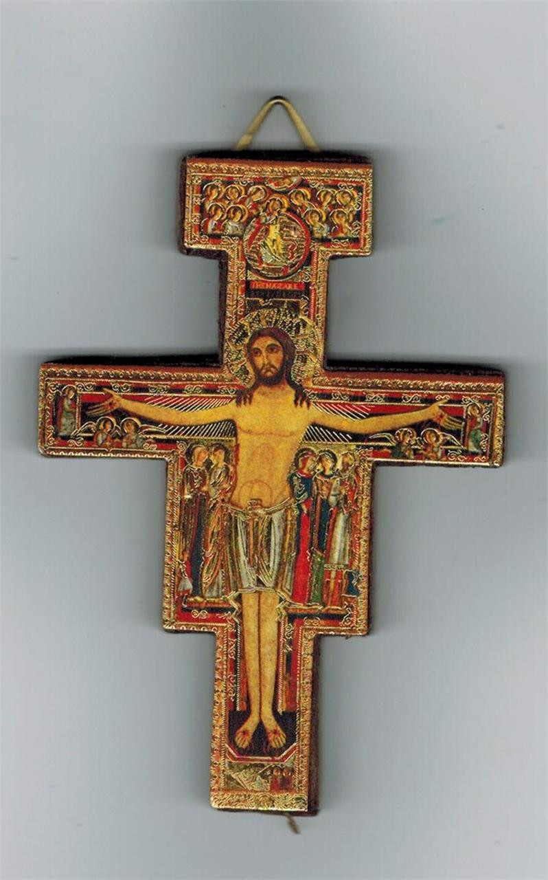 San Damiano 3 1/4 inch wall crucifix with Gold Accents