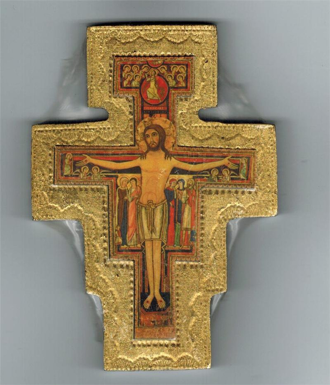 4 inch Gold Bordered San Damiano Wall Crucifix