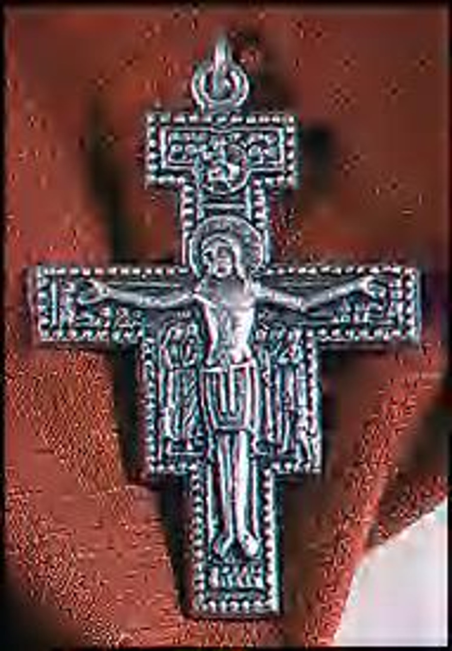 """2"""" Nickle Silver San Damiano Crucifix Necklace (Pendant) on cord"""