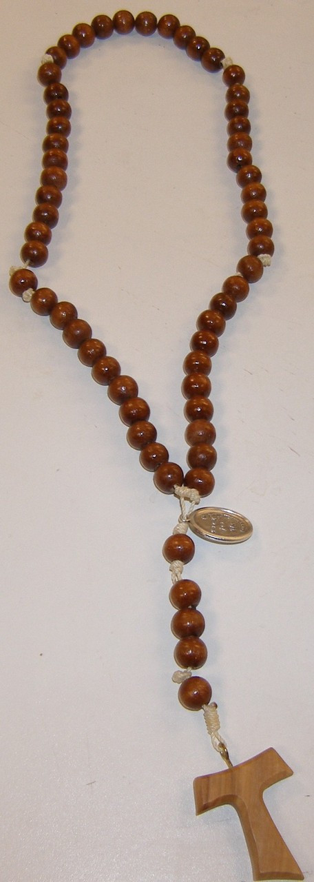 Wooden Bead and Cord Rosary with Tau Cross
