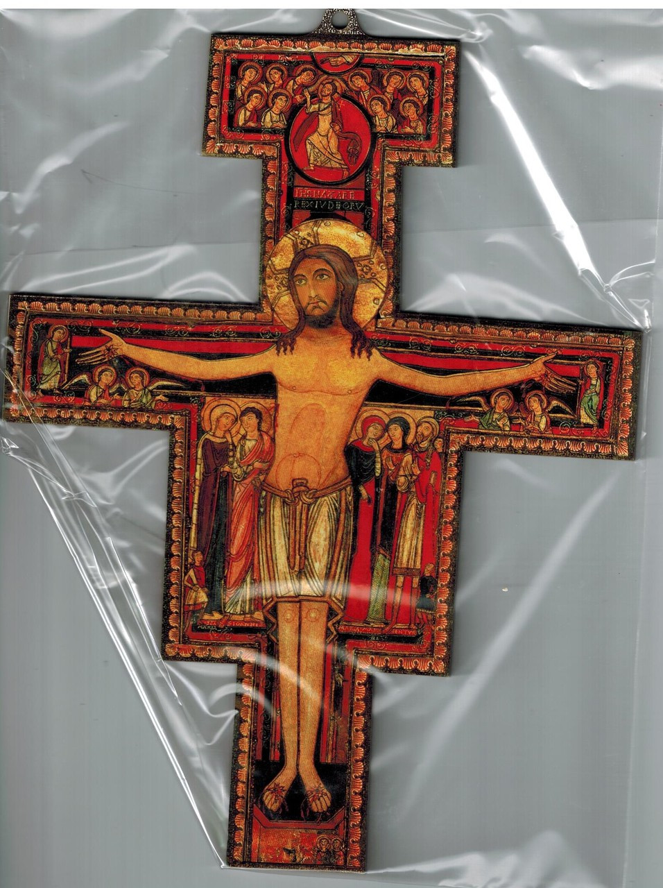 """San Damiano Wall Crucifix with Gold Accents - 7"""""""