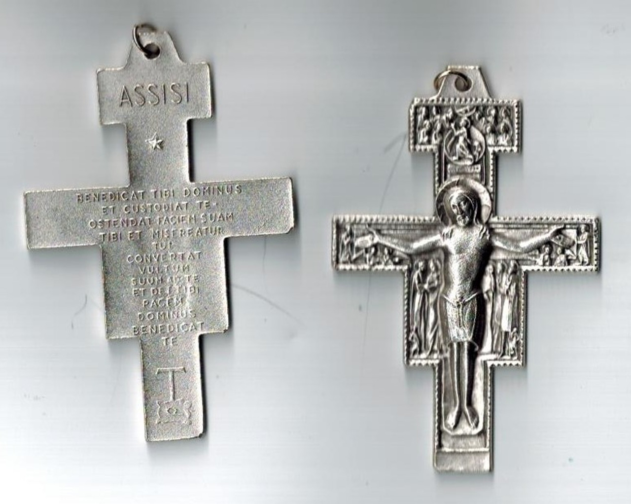 2.5 inch pewter San Damiano Crucifix from Assisi, with or without cord