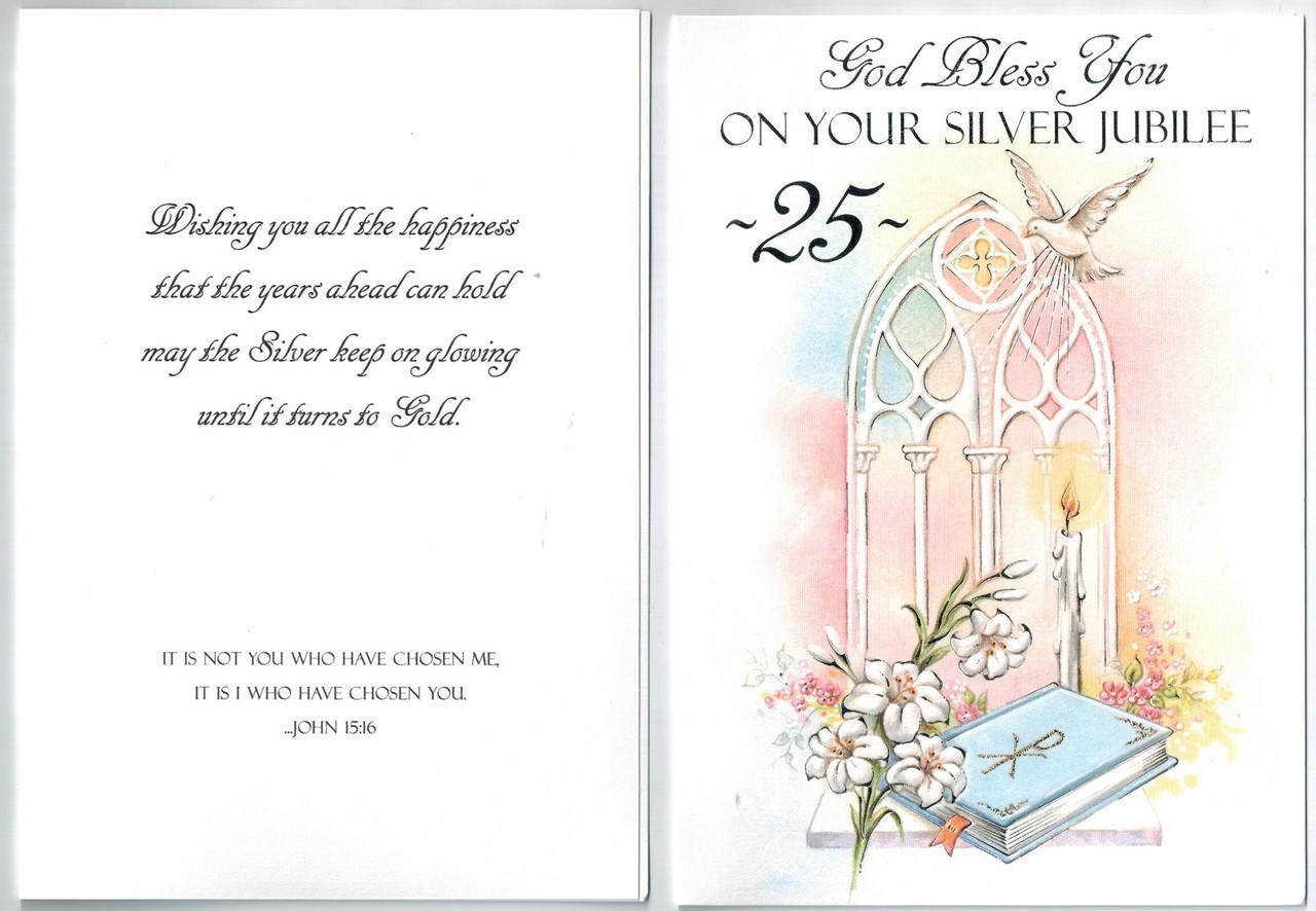 silver jubilee 25 years greeting card for priest deacon