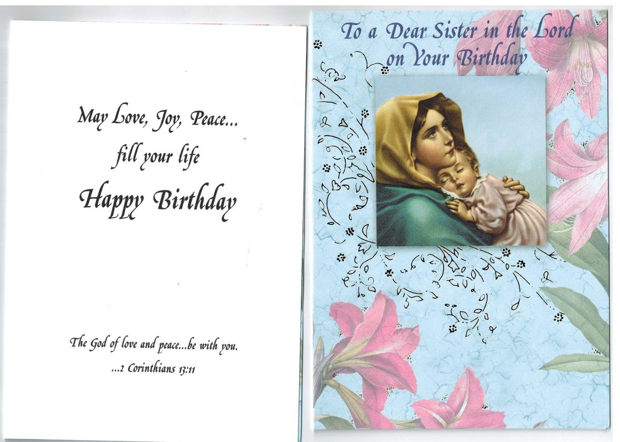 Birthday Greeting Card For Religious Sister Or Nun Envelope Included Free Shipping