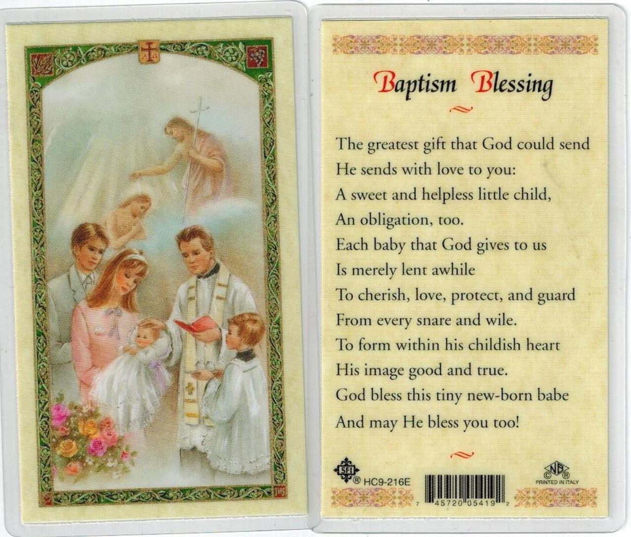 Baptism Child Baptism Blessing Laminated prayer card